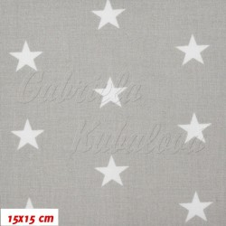 Zbytek - Plátno, Hvězdičky 22 mm bílé na světle šedé, 15x15 cm