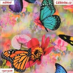 Úplet s EL Digitální tisk - Motýlci na květinách, ATEST 2, šíře 160 cm, 10 cm
