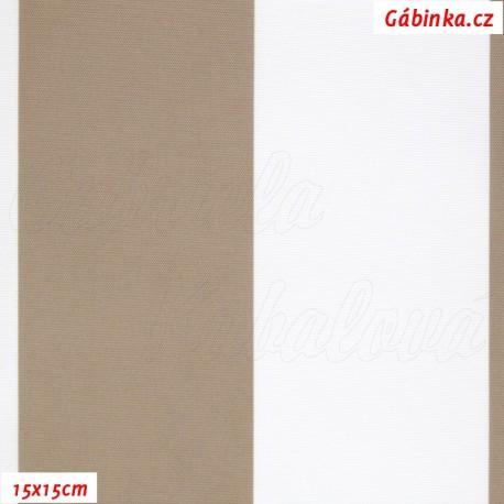 DISCOVERY - Pruhy béžové a bílé, 15x15cm