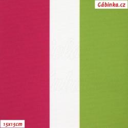DISCOVERY - Pruhy tm. růžové bílé a zelené 7 a 3,5 cm, DBY, šíře 160 cm, 10 cm