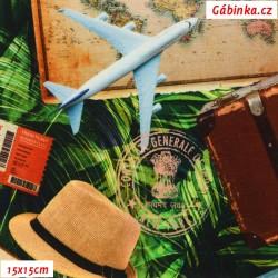Úplet s EL Digitální tisk - Traveling, ATEST 2, šíře 160 cm, 10 cm