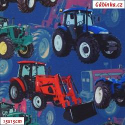 Zimní softshell - Digitální tisk, Traktory na modré, 15x15 cm
