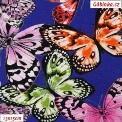 Úplet s EL Digitální tisk - Barevní motýlci na modré, šíře 140 cm, 10 cm