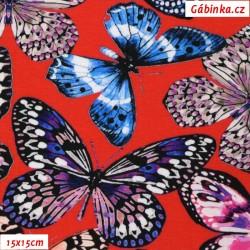 Úplet s EL Digitální tisk - Barevní motýlci na červené, šíře 140 cm, 10 cm