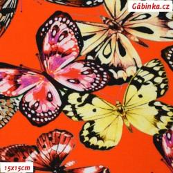 Úplet s EL Digitální tisk - Barevní motýlci na reflexní oranžové, šíře 140 cm, 10 cm