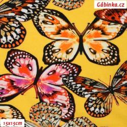 Úplet s EL Digitální tisk - Barevní motýlci na žluté, šíře 140 cm, 10 cm