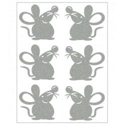 Reflexní nažehlovací potisk - Myšky (6 ks)