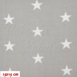 Zbytek - Plátno - Hvězdičky 22 mm bílé na světle šedé II. jakost, šíře 160 cm, 95 cm