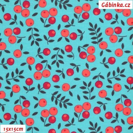 Úplet s EL - Třešně na modré, 15x15 cm