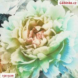 Hedvábí - Květinová bordura na sv. zelené, 15x15 cm