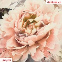 Hedvábí - Květinová bordura na sv. růžové, 15x15 cm