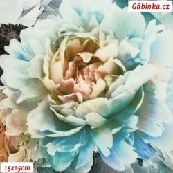 Hedvábí - Květinová bordura na sv. modré, 15x15 cm