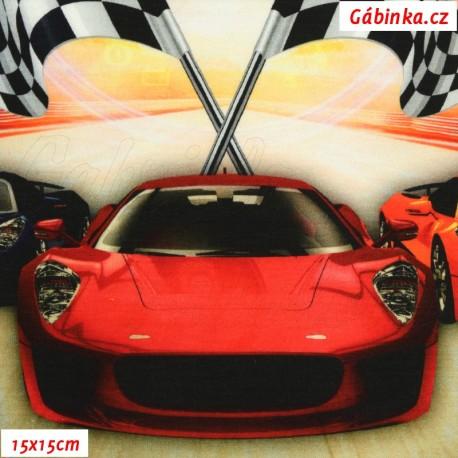 Úplet s EL - panel závodní auta, 15x15 cm