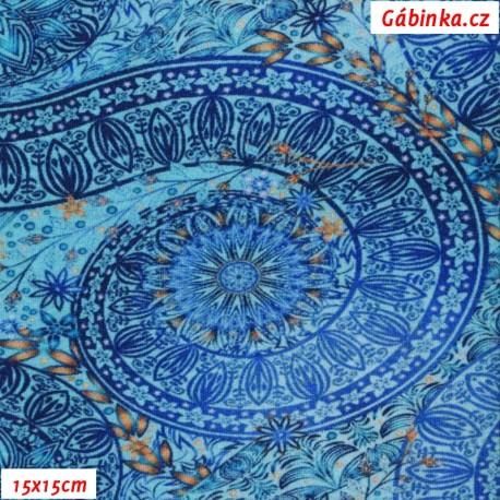 Teplákovina s EL Digitální tisk - Mandaly na modré, 15x15 cm
