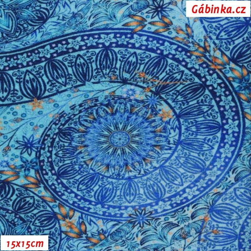 Teplákovina s EL Digitální tisk - Mandaly na modré f8801614c8d
