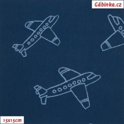 Zimní softshell, Letadla na jeans, 15x15 cm