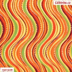 Plátno USA - QT Olivia - Oranžové vlnky, šíře 110 cm, 10 cm