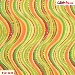 Plátno USA - QT Olivia - Zelené vlnky, šíře 110 cm, 10 cm