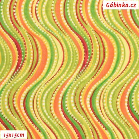 Plátno USA - QT Olivia - Zelené vlnky, 15x15 cm