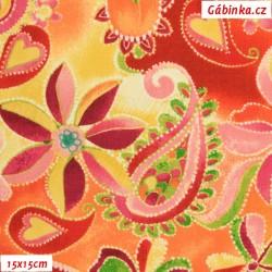 Plátno USA - QT Olivia - Hravé květy, šíře 110 cm, 10 cm