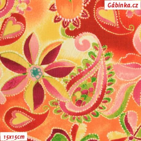 Plátno USA - QT Olivia - Hravé květy, 15x15 cm