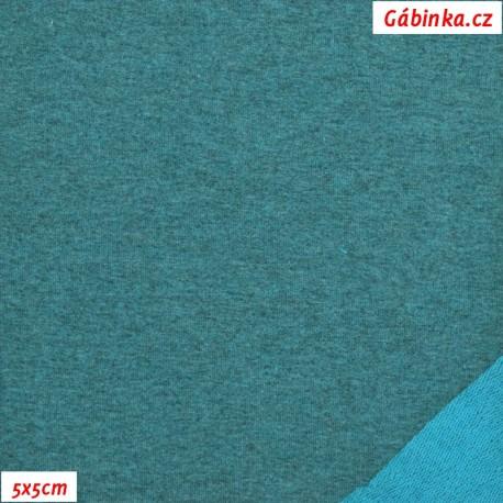 Teplákovina s EL, petrolejový melír, 15x15cm