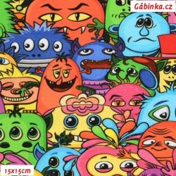 Úplet s EL Digitální tisk - Cartoon Monsters, ATEST 2, šíře 148 cm, 10 cm