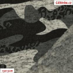 Svetrovina zimní - Černošedý maskáč, 15x15 cm