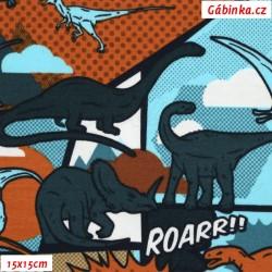 E - Úplet s EL - Barevný komiks s dinosaury, šíře 150 cm, 10 cm