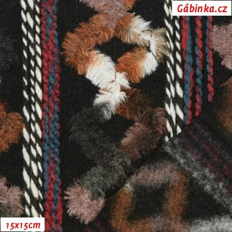 Vlna - Indiánský vzor hnědý, 15x15 cm