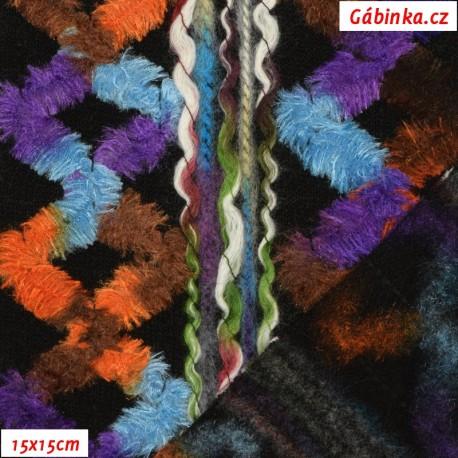 Vlna - Indiánský vzor barevný, 15x15 cm