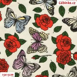 Úplet s EL - Měnící efekt, Růže s UV motýlky, 15x15 cm na slunci, pod UV světlem