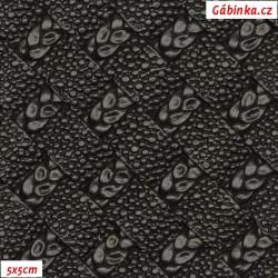 Koženka plastická 01, černá s propletenými copánky, šíře 140 cm, 10 cm