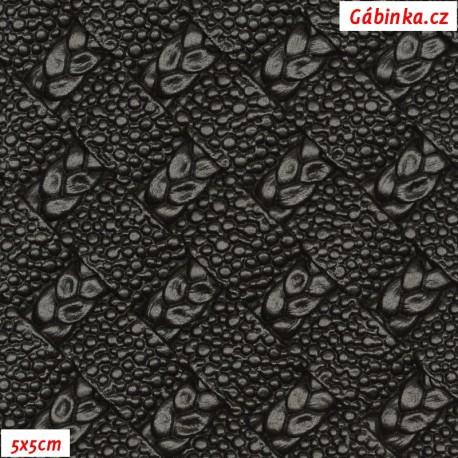 Koženka plastická 01, černá s propletenými copánky, 5x5 cm