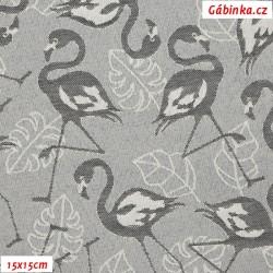 Kočárkovina žakár, Plameňáci na stříbrné, šíře 160 cm, 10 cm