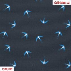 Kočárkovina Primax, Vlaštovky na tmavě modré, 15x15 cm
