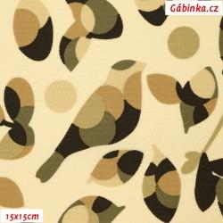 Kočárkovina MAT, Ptáčci hnědí na smetanové, šíře 160 cm, 10 cm, Atest 1