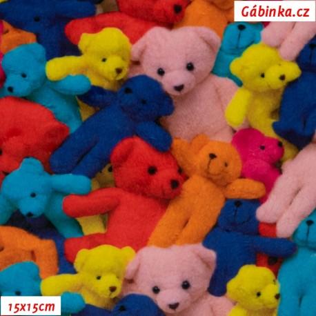 Hladký plyš MINKY - Barevní medvídci, 15x15 cm