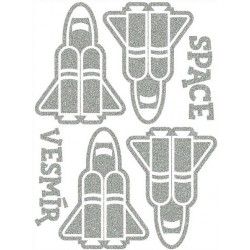 Reflexní nažehlovací potisk - Raketoplány (4+2 ks)