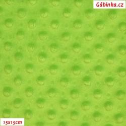 Plyš MINKY - puntíky jasně zelené, gramáž 300 g, šíře 150 cm, 10 cm