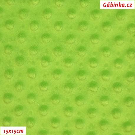 Plyš MINKY - puntíky jasně zelené, gramáž 300 g, 15x15 cm