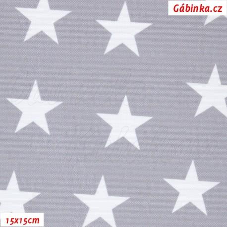 Kočárkovina Premium, Hvězdy na světle šedé 218, 15x15 cm
