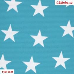 Kočárkovina Premium, Hvězdy na tyrkysové 530, 15x15 cm