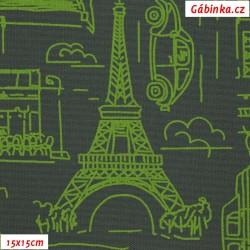 Kočárkovina MAT, Města a auta zelená na tmavě šedé, šíře 160 cm, 10 cm, Atest 1