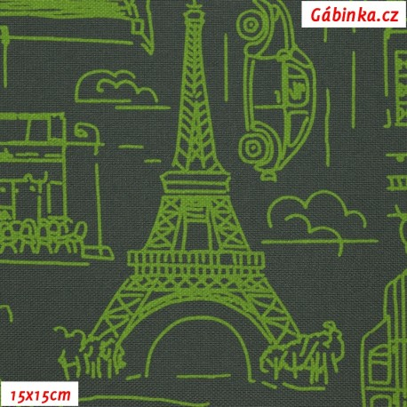 Kočárkovina MAT, Města a auta zelená na tmavě šedé, 15x15 cm