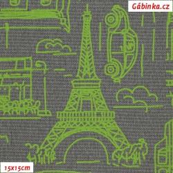 Kočárkovina MAT, Města a auta zelená na šedostříbrné jeans, šíře 160 cm, 10 cm, Atest 1
