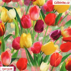 Úplet s EL Digitální tisk - Tulipány, ATEST 2, šíře 160 cm, 10 cm