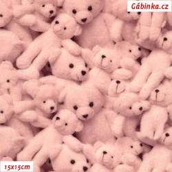 Hladký plyš MINKY Digitální tisk - Růžoví medvídci, šíře 160 cm, 10 cm