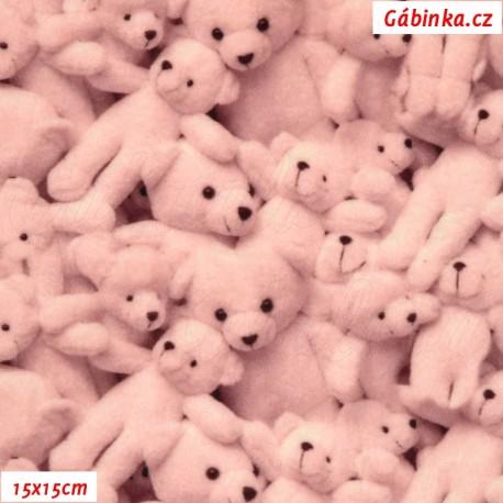 Hladký plyš MINKY Digitální tisk - Růžoví medvídci, 15x15 cm