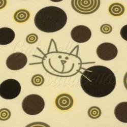 Kočárkovina MAT, Kočky na smetanové se žlutohnědými kolečky, šíře 160 cm, 10 cm, Atest 1
